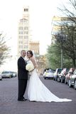 Bride and Groom. Vertical image of a bride and groom posing together on their wedding day stock images