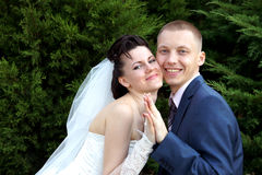 Bride and groom. Embrace a happy young couple Stock Image