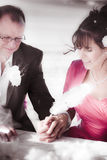 Bride And Groom. Happy And Smiling Bride And Groom Hold Hands Together While Signing The Wedding Registry As One Royalty Free Stock Images