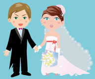 Bride and Groom. Illustration of an adorable groom and his Royalty Free Stock Images