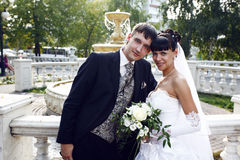 Bride and groom. Posing with the fountain on the background royalty free stock photos
