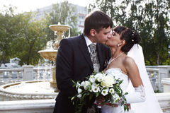 Bride and groom. Kissing with the fountain on the background royalty free stock photography