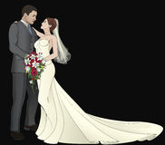 Bride and Groom. A bride and groom on their wedding day about to kiss royalty free illustration