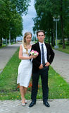 Bride and groom 2. Bride and groom against summer landscape Royalty Free Stock Image