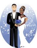 Bride Groom 2. Vector Illustration. A beautiful bride and groom on their wedding day. Interracial Wedding Couple. Bride Groom 2 Stock Photography