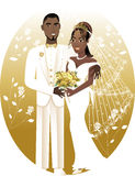 Bride Groom 2. Vector Illustration. A beautiful bride and groom on their wedding day. African American Wedding Couple. Bride Groom 2 Stock Images