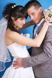 The bride and groom. On a blue background Stock Photography