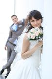The bride and groom. Outdoors Royalty Free Stock Photos