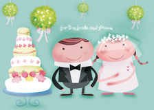 For the bride and groom. Big wedding cake for the bride and groom royalty free illustration