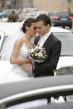 Bride and groom. Happy young bride and groom outdoor Royalty Free Stock Images
