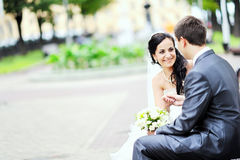 Bride and groom. Having fun in an old town royalty free stock photos