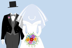 Bride and groom. On light blue background Royalty Free Stock Image