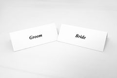 Bride and groom. Place cards at wedding reception Royalty Free Stock Image