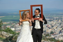 Bride and groom. Portrait of a nice young wedding couple Royalty Free Stock Photo