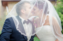 Bride and Groom. On wedding day stock photography