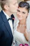 Bride and Groom. On wedding day Royalty Free Stock Photo