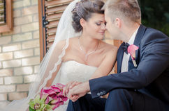 Bride and Groom. On wedding day stock photos