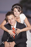 Bride and groom. Portrait of just married couple on the beach Royalty Free Stock Photography