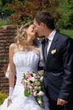 Bride and groom. Groom kisses his young and beautiful bride Stock Photo