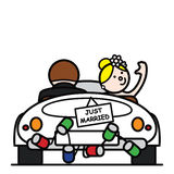 Bride and groom 3. Newlyweds leaving to go on honeymoon Royalty Free Stock Photos