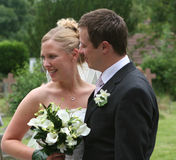 The Bride and Groom. The bride smiles stock images