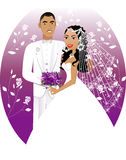 Bride Groom 5. Vector Illustration. A beautiful bride and groom on their wedding day. Wedding Couple 5 Royalty Free Stock Image