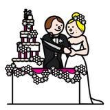 Bride and groom 5. Newlyweds cutting the wedding cake Stock Photos