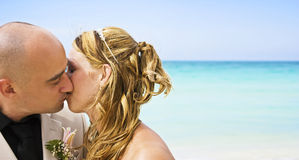 Bride and groom. Kissing on the beach Royalty Free Stock Photos