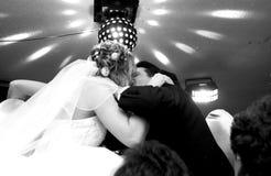 Bride and groom. A kiss stock photos