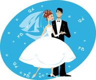 Bride and groom. An illustrated background of a bride and groom on a dance floor, isolated on a white background Stock Image