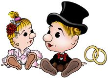 Bride and Groom. Colored cartoon illustration as vector Royalty Free Stock Image