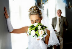 Bride and groom. In the hall Stock Image