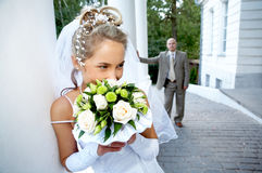 Bride and groom. Walking outdoors Royalty Free Stock Photography