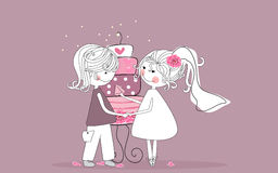 Bride and groom. Vector illustration of bride and groom tasting the wedding cake Stock Photos