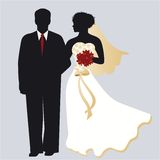 Bride and Groom. Classic wedding pose - bride and groom  - bride has beaded detail on dress Royalty Free Stock Photography