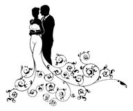 Bride and Groom Abstract Wedding Silhouette Design. Wedding couple bride and groom husband and wife in silhouette, in a white bridal dress gown and an abstract Stock Photography