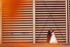 Bride and groom against a striped wall Stock Images