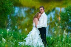 The bride and groom around the lake Stock Images