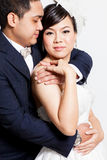 Bride and groom asian is Romantic Royalty Free Stock Photos