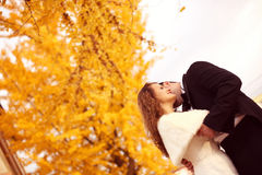 Bride and groom on autumn day Stock Image