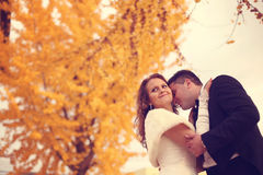 Bride and groom on autumn day Stock Photo