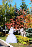 The bride and groom on autumn mall. The groom kisses a palm of the bride on the autumn avenue Stock Photography