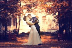 Bride and groom  in autumn park Royalty Free Stock Photos