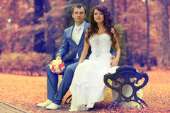 Bride and groom  in autumn park Stock Photos