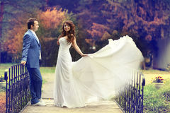 Bride and groom  in autumn park Royalty Free Stock Photo