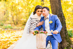 Bride and groom in autumn park Stock Image