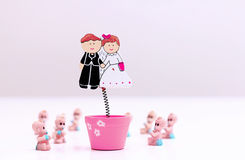 Bride,groom and babies Royalty Free Stock Photography