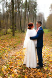 Bride and groom at the background of beautiful autumn landscape Stock Photo