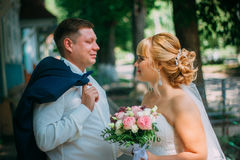 Bride and groom on the background of the city Stock Photo