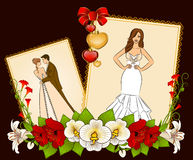Bride and groom on a background with flowers Stock Image